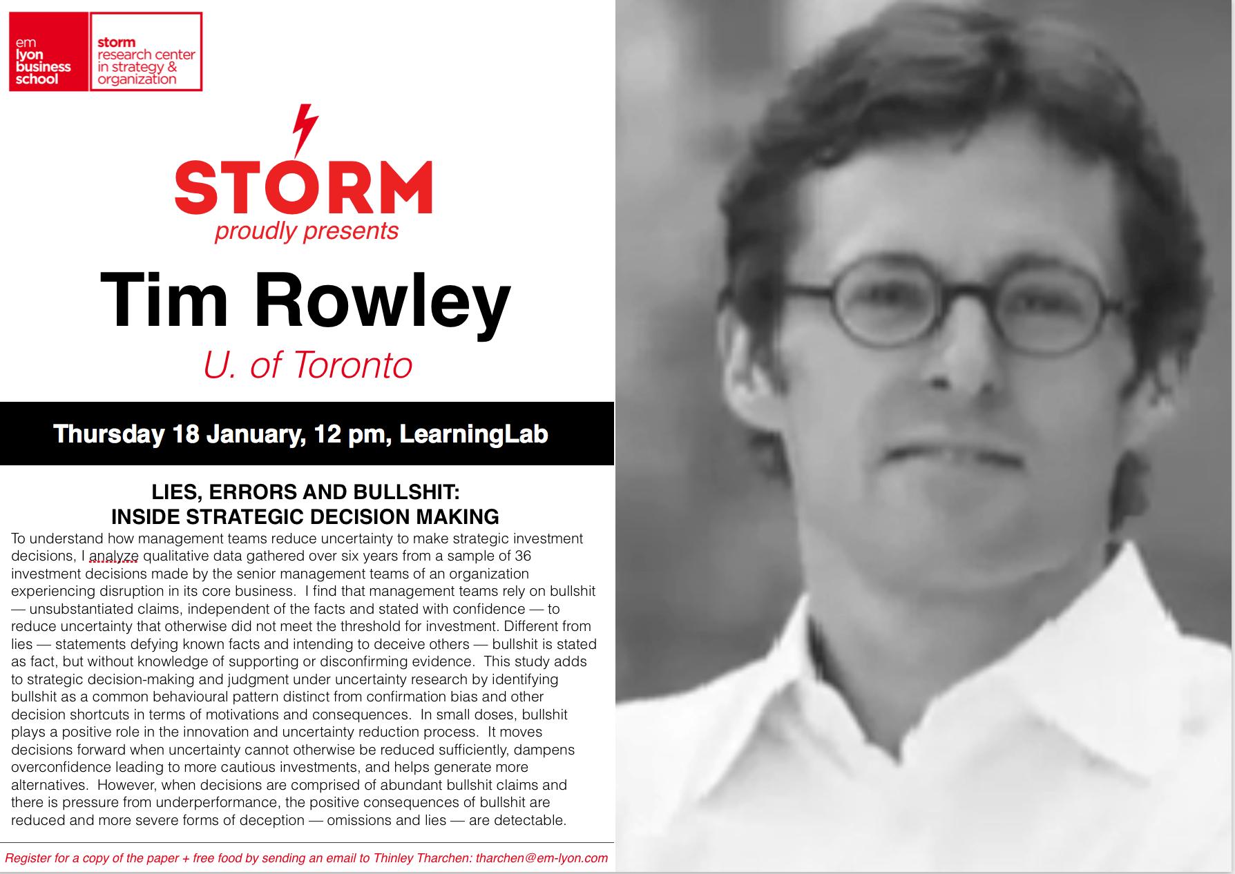 18 January 2018: TIM ROWLEY (U. of Toronto)