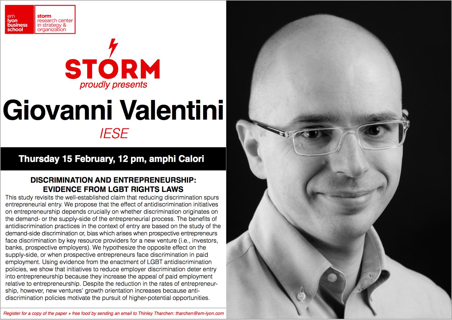 15 February 2018: GIOVANNI VALENTINI (IESE)
