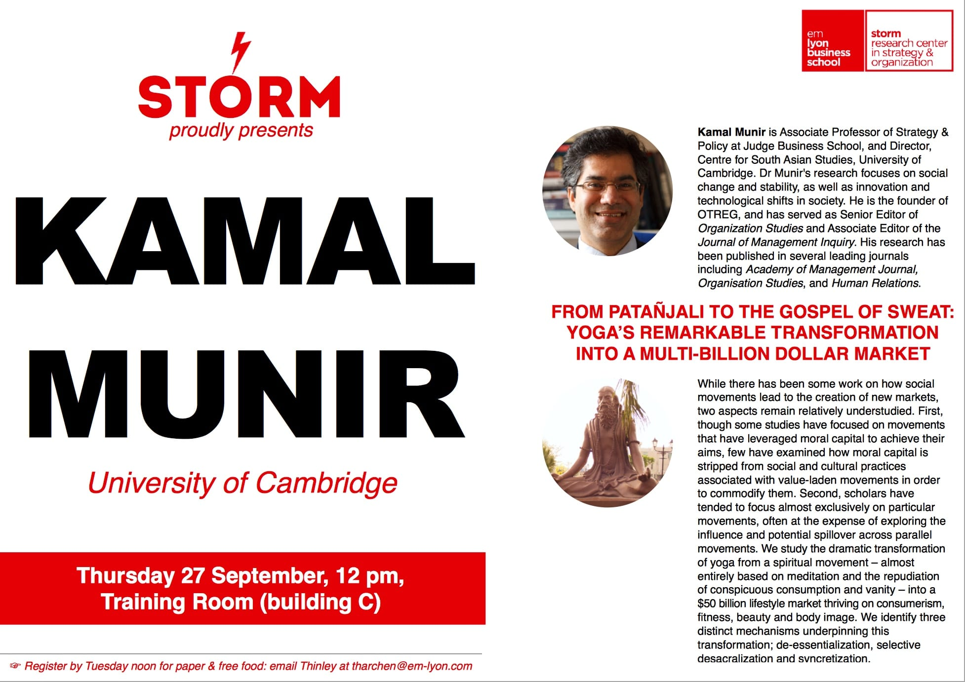 27 September 2018: KAMAL MUNIR (U. of Cambridge)