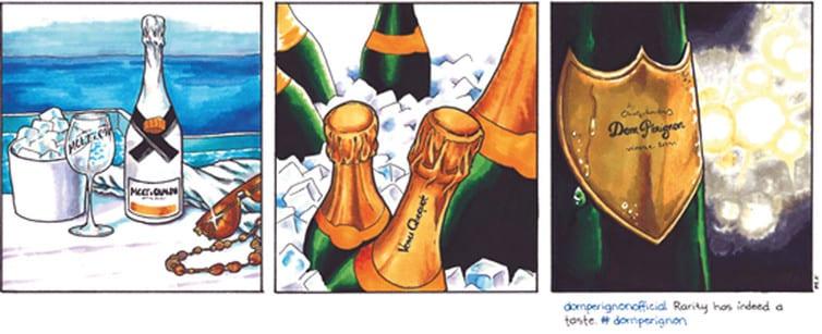 Figure 1 : Marques de champagne exprimées sur les comptes de marque Instagram. Dessins Maria Federley.