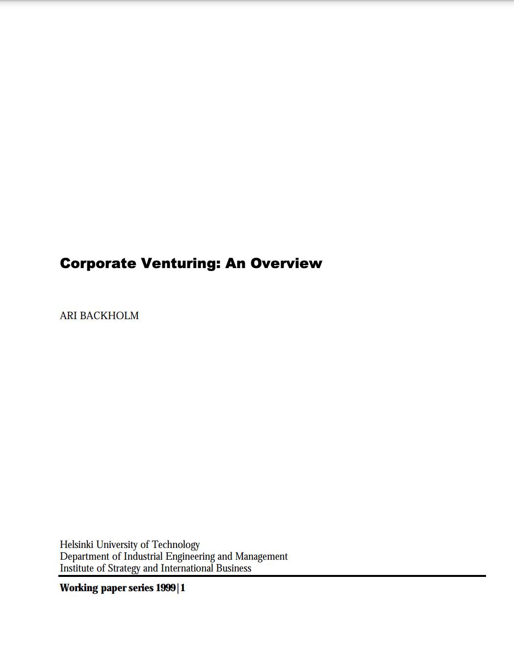 Corporate Venturing: An Overview