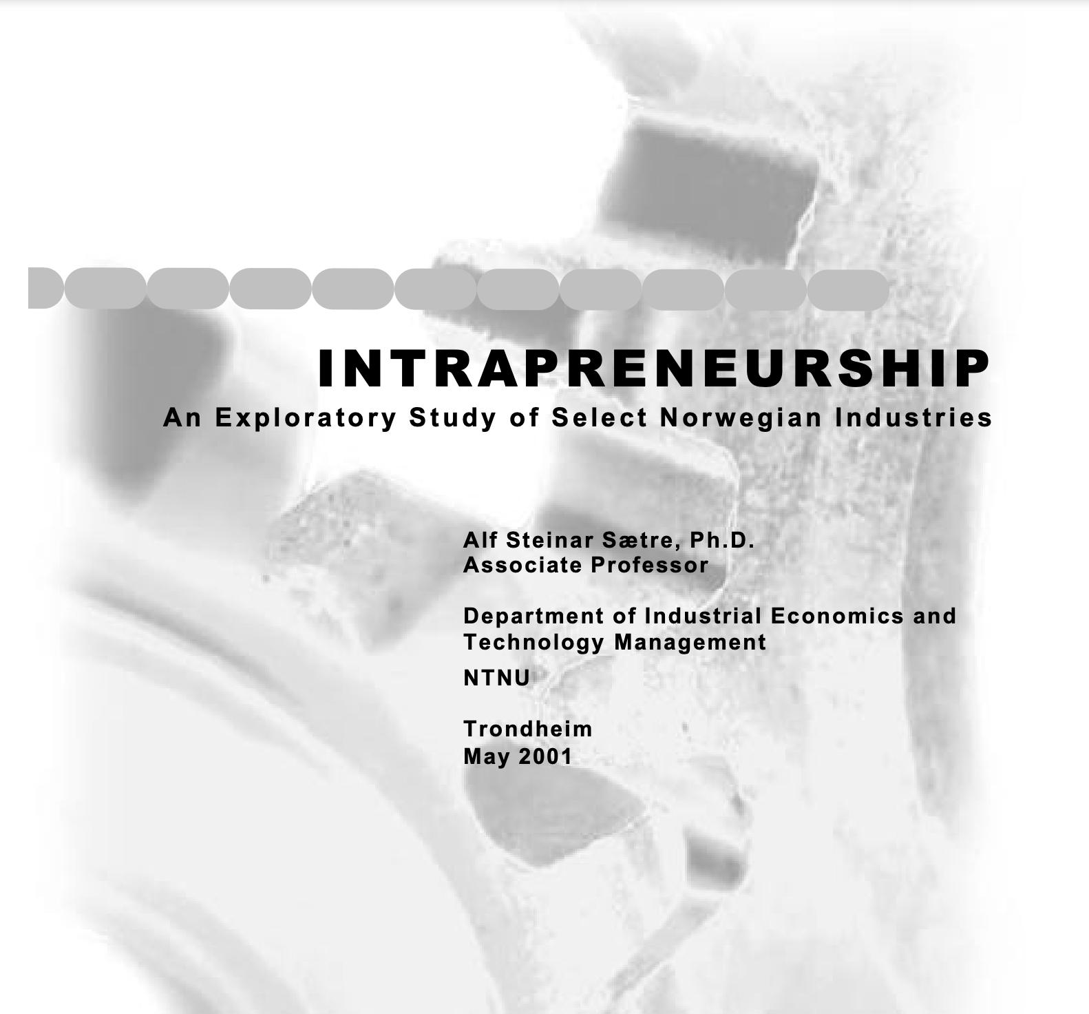 Intrapreneurship: an exploratory study of select Norwegian industries